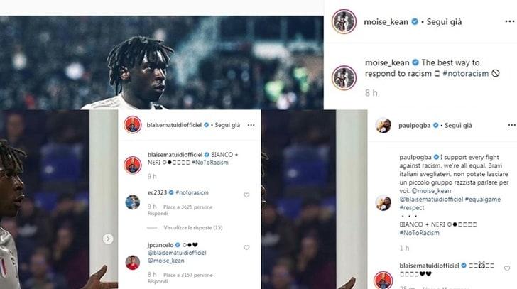 Juve, Kean posta la foto dell'esultanza e scrive: «Il miglior modo per rispondere al razzismo»