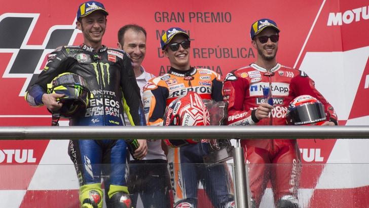 MotoGp Honda, Marquez: «Io e Rossi insieme? Se corre ancora...»