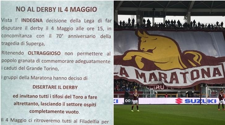 Torino, la Curva Maratona: «Disertiamo il derby con la Juve»