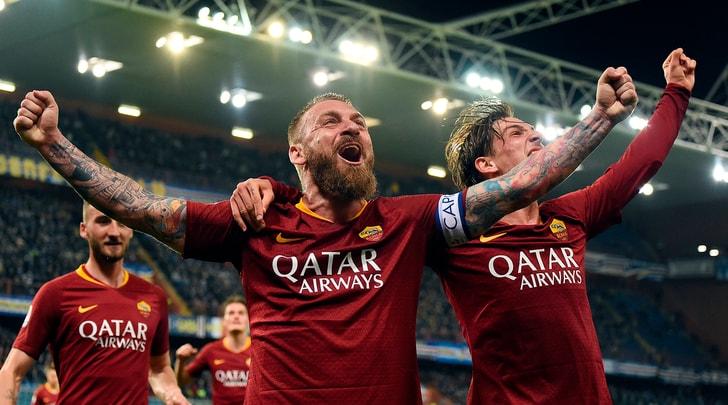 Sampdoria-Roma 0-1: risolve De Rossi, Milan a -1