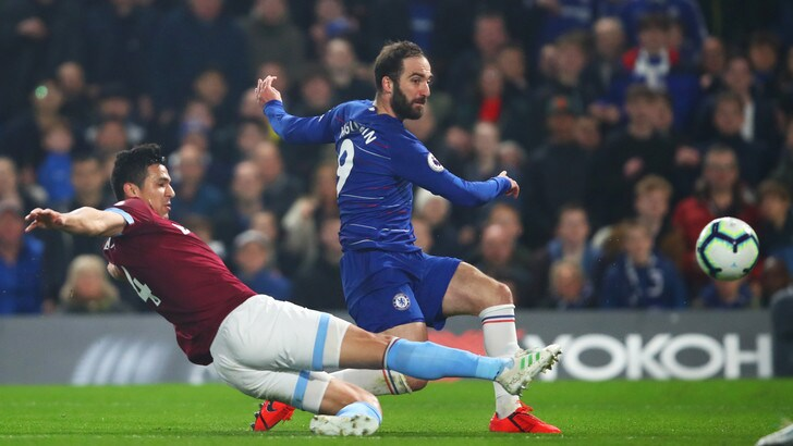 Premier: 2-0 del Chelsea al West Ham. Il palo frena Higuain