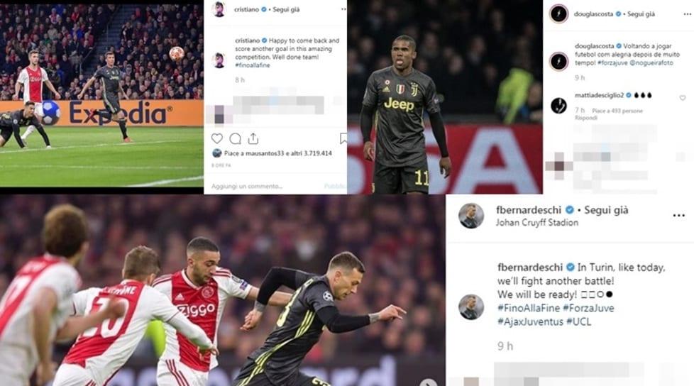 <p>Ecco i post pubblicati su Instagram dai calciatori bianconeri dopo il pareggio alla Johan Cruijff Arena nell&#39;andata dei quarti di finale di Champions League</p>
