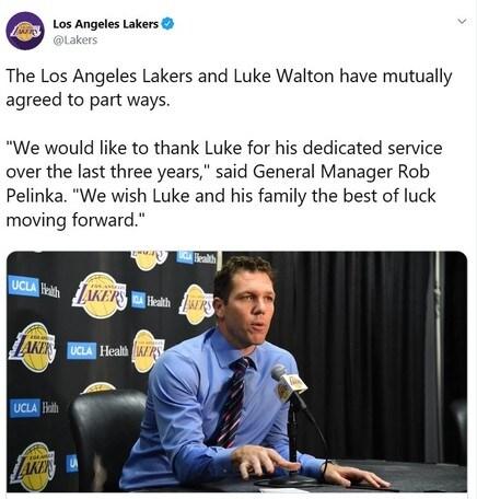 Nba, Walton non è più l'allenatore dei Lakers