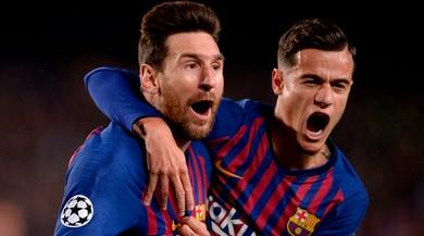 Barcellona-Manchester United 3-0: Messi-Coutinho, blaugrana avanti