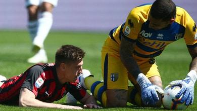 """Piatek """"sbatte"""" contro Sepe: il Milan frena a Parma"""