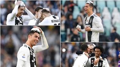 """Juve, festa scudetto con la schiuma: """"colpiti"""" Ronaldo e Allegri"""