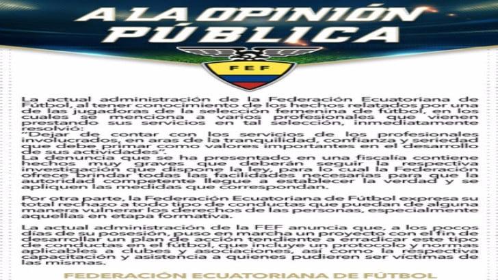Ecuador: Luis Pescarolo, Ct della nazionale femminile, licenziato per abusi sessuali