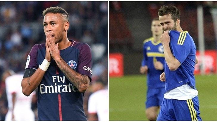 Champions, tre turni a Neymar. Pjanic salta Italia-Bosnia