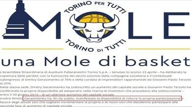 Basket, Auxilium Torino: Gerasimenko ridurrà le quote azionarie