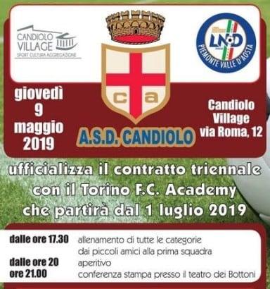 A.S.D. Candiolo ufficializza il contratto triennale con il Torino F.C. Academy