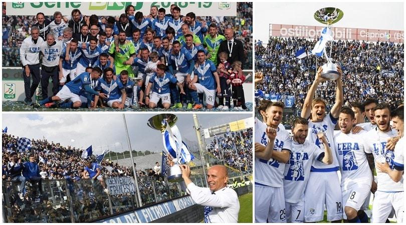 Il Brescia alza al cielo lo Scudetto di Serie B ed esplode la festa