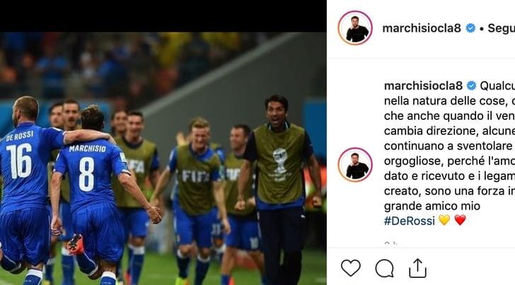 Juve, Marchisio scrive a De Rossi: «Certe bandiere continuano a sventolare»