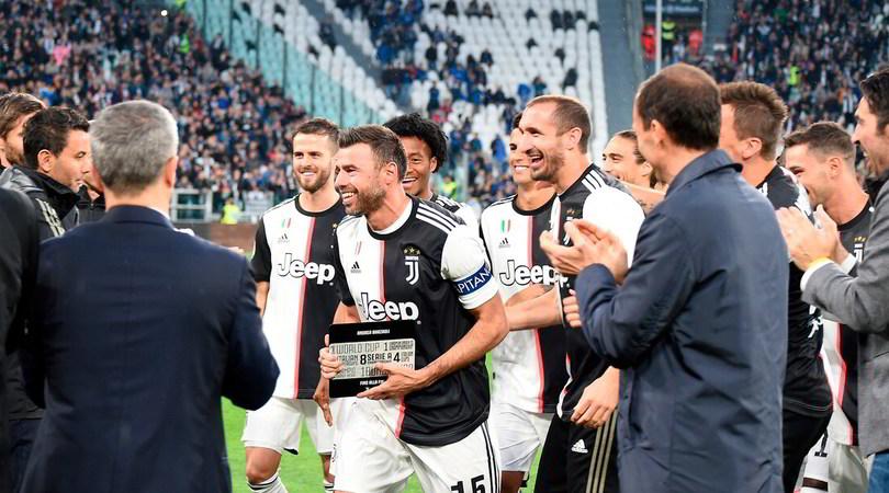 Barzagli commosso per l'ultima partita all'Allianz Stadium