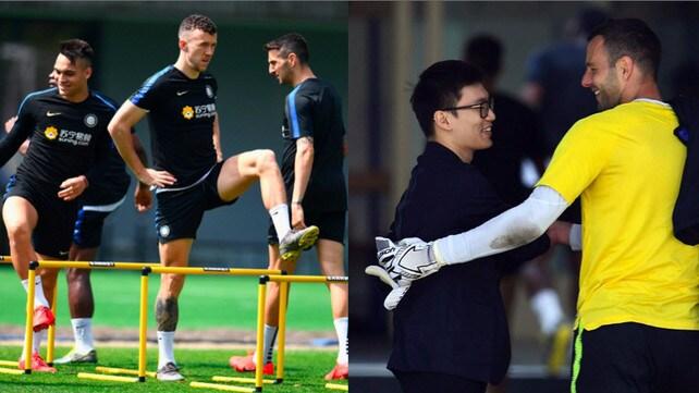 Inter, allenamento sotto gli occhi del presidente