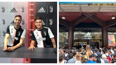 Dybala e Bentancur a Milano: tifosi in delirio fuori l'Adidas Store