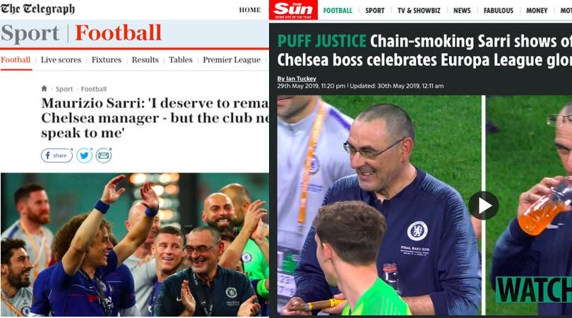 """Sarri, la stampa inglese: """"Futuro incerto dopo il trionfo in Europa League"""""""