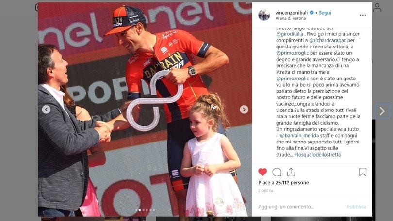 """Nibali: """"Carapaz, vittoria meritata! Con Roglic nessuna polemica"""""""