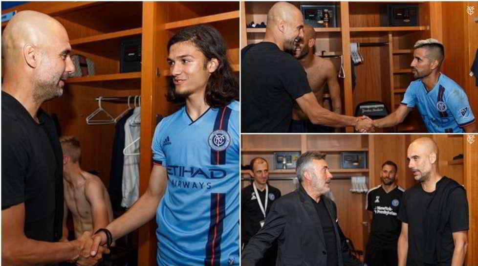 <p>Il tecnico ha incontrato l'altra squadra dello sceicco del Manchester Cityallenata da Domènec Torrent, ex vice di Pep in panchina al Barcellona, Bayern Monaco e ai Citizens</p>