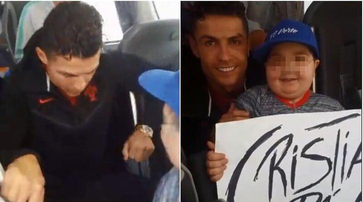 Cristiano Ronaldo cuore d'oro: ferma il pullman e abbraccia il bambino