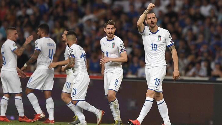 """Italia show, Chiellini: """"Grande vittoria!!!"""". Bonucci: """"Una squadra che gioca a calcio"""""""
