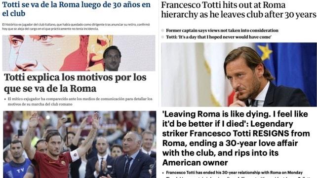 Totti-Roma, l'addio visto dalla stampa estera
