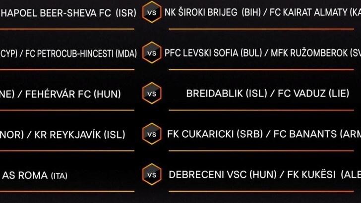 Europa League, Roma contro la vincente tra Debrecen e Kukësi