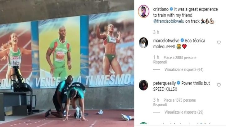 Juventus, Cristiano Ronaldo senza limiti: si allena in pista con Obikwelu