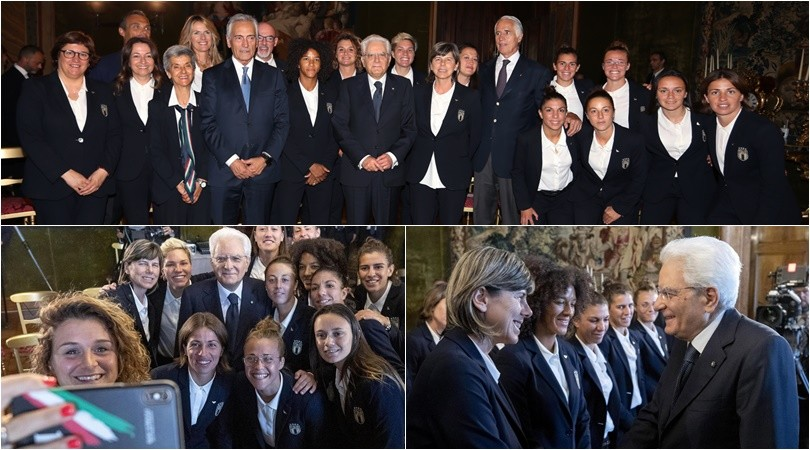 L'Italia femminile da Mattarella: sorrisi e selfie per le azzurre al Quirinale