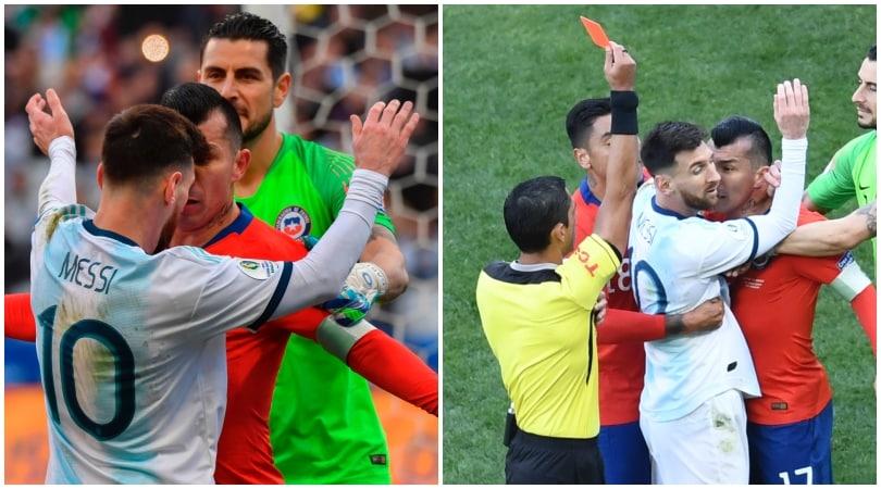 Medel, testa in faccia a Messi: espulsi entrambi