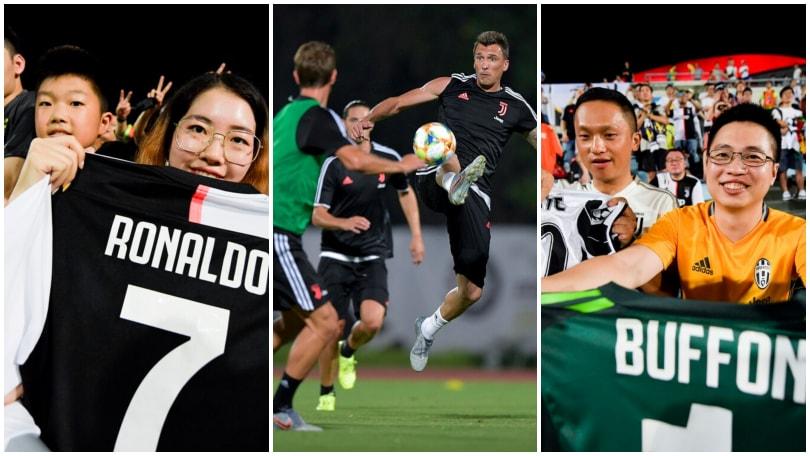 Juve, allenamento serale: l'entusiasmo dei tifosi cinesi
