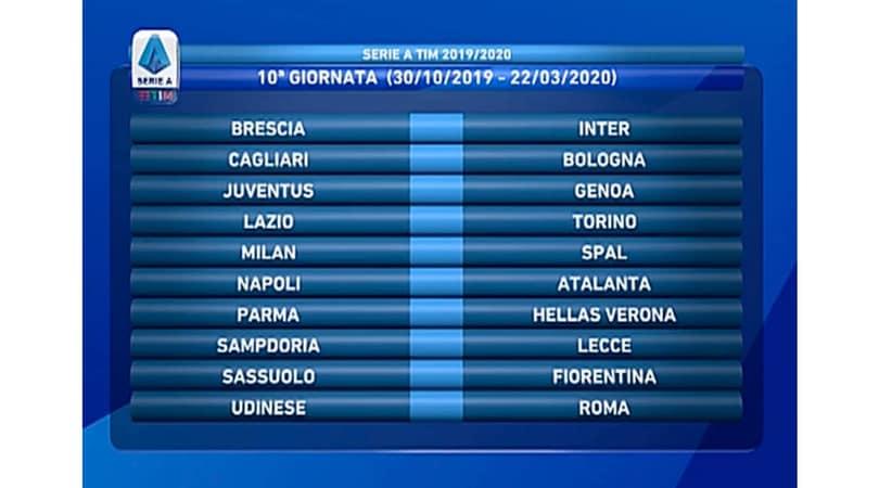 Calendario 10 Giornata Serie A.Calendario Serie A 2019 2020 Ecco Le 38 Giornate Del