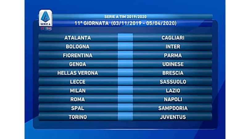Calendario Serie A 11 Giornata.Calendario Serie A 2019 2020 Ecco Le 38 Giornate Del