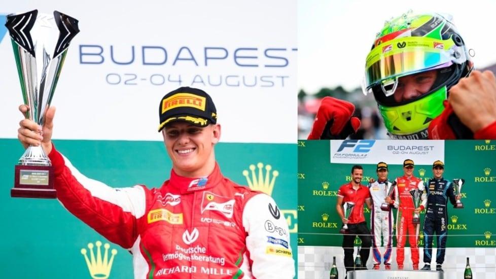 <p>Il pilota tedesco, figlio del sette volte campione iridato, all'Hungaroring ha chiuso davanti a Matsushita e Sette Camara. Grande emozione per mamma Corinna, presente sotto il podio</p>
