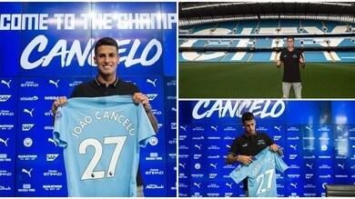 Juve addio: Cancelo posa con la maglia del Manchester City