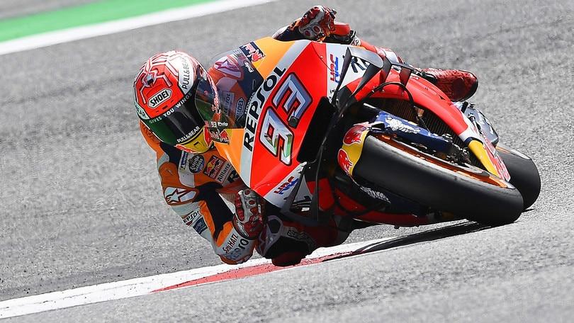 Gp Austria: Marquez in pole davanti a Quartararo, Valentino Rossi 10°