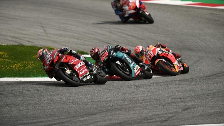 Gp Austria: Dovizioso batte Marquez all'ultima curva, Rossi quarto