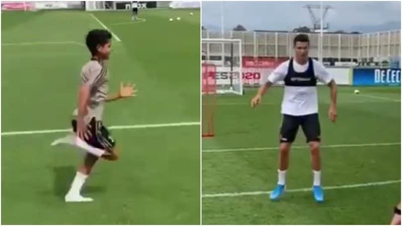 Cristiano Ronaldo si allena col figlio