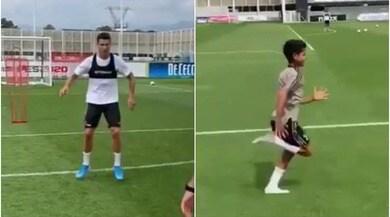 Juve, Ronaldo si allena con... Cristianinho! Papà e figlio in campo