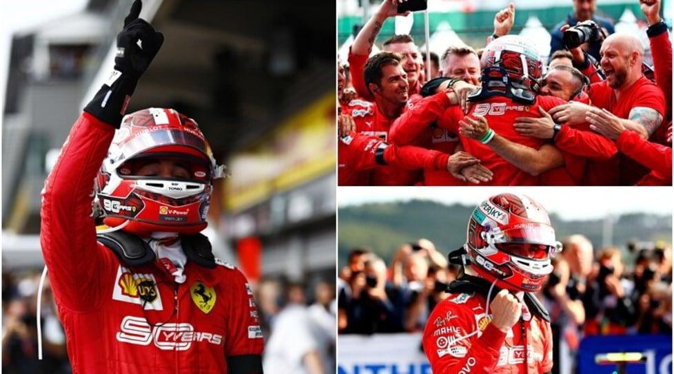 <p>L'abbraccio con il box della Rossa, gli occhi lucidi e l'indice rivolto verso il cielo:il trionfo in Belgio è tutto per l'amico Antoine</p>