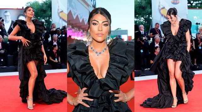 Giulia Salemi incanta Venezia con un look total black
