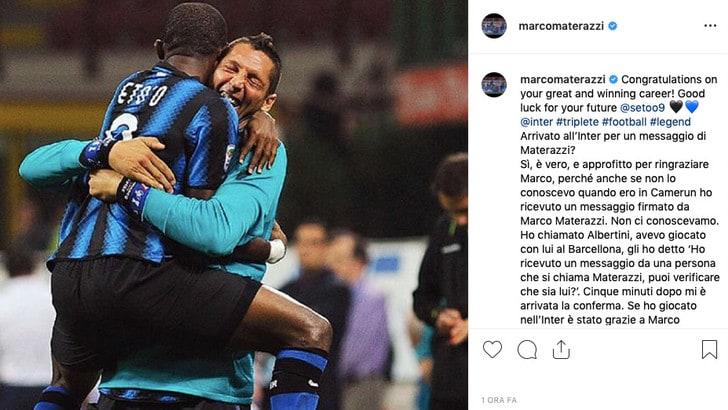 Eto'o, il saluto di Materazzi:
