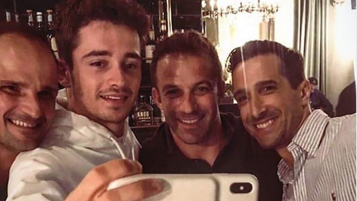 Leclerc, un selfie a cena con Del Piero. E parlando italiano ha fatto innamorare il Paese