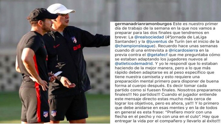 Atletico-Juve, la carica di Burgos: