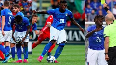 Kean, gol su rigore e cartellino giallo con l'Italia Under 21