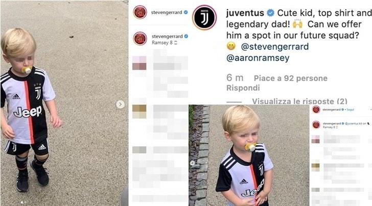 Gerrard, la foto del figlio con il kit della Juve è già virale