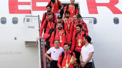 L'arrivo a Madrid della Spagna campione del mondo