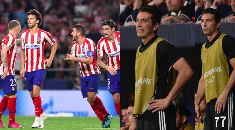 Juve: l'Atletico rimonta, Buffon amareggiato in panchina
