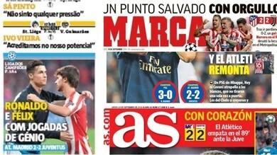 Atletico Madrid-Juventus, la stampa estera esalta Ronaldo e Felix