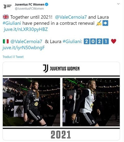 Juventus Women: Giuliani e Cernoia rinnovano fino al 2021