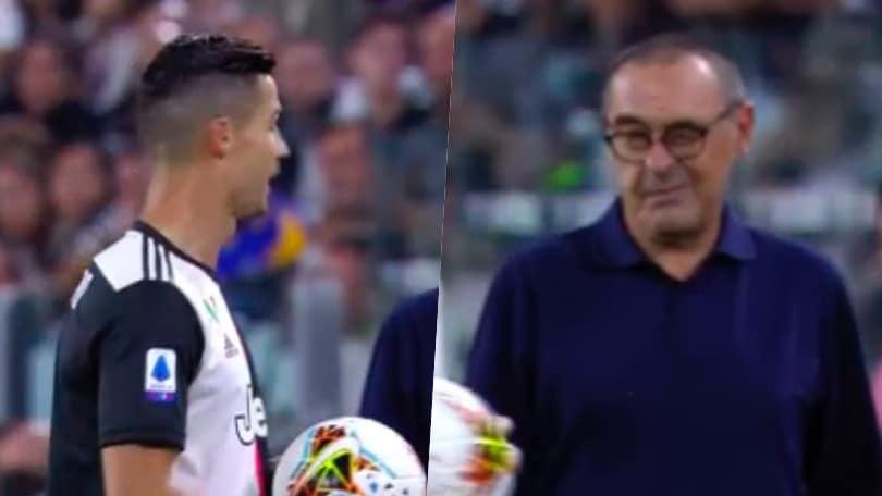 Sarri, grande intesa con Ronaldo: il tecnico gli fa l'occhiolino